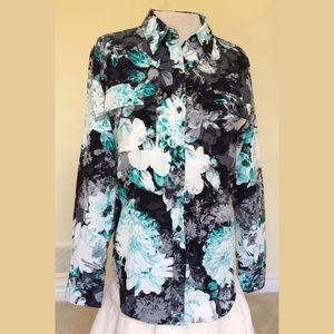 Apt 9 Turquoise Blue Black Floral Blouse M